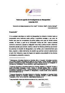 Hacia una agenda de investigaciones en discapacidad Colombia 2012
