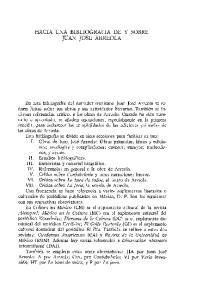 HACIA UNA BIBLIOGRAFIA DE Y SOBRE JUAN JOSE ARREOLA