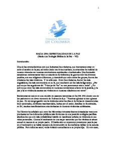 HACIA UNA ESPIRITUALIDAD DE LA PAZ (Hacia una Teología Bíblica de la Paz VII)