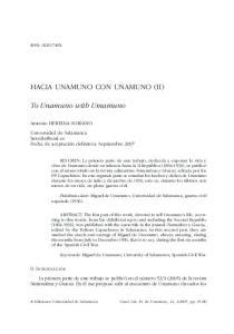 HACIA UNAMUNO CON UNAMUNO (II)