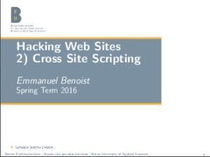 Hacking Web Sites 2) Cross Site Scripting