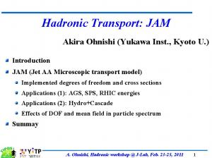Hadronic Transport: JAM