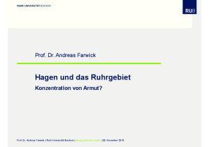 Hagen und das Ruhrgebiet Konzentration von Armut?