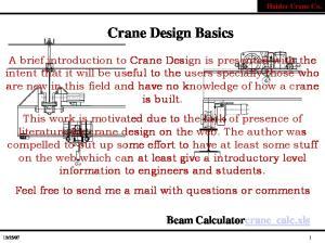 Haider Crane Co. Crane Design Basics