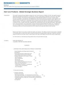 Hair Care Products - Global Strategic Business Report