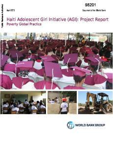 Haiti Adolescent Girl Initiative (AGI): Project Report Poverty Global Practice