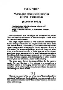Hal Draper. Marx and the Dictatorship of the Proletariat