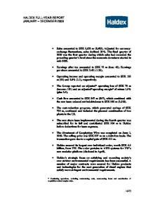 HALDEX FULL-YEAR REPORT JANUARY DECEMBER 2009