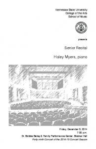 Haley Myers, piano. Senior Recital. Kennesaw State University College of the Arts School of Music. presents