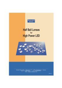 Half Ball Lenses. for High Power LED