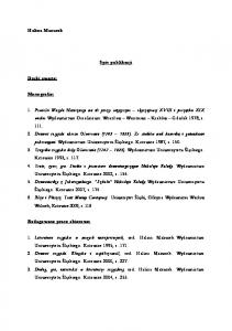 Halina Mazurek. Spis publikacji. Druki zwarte: Monografie: