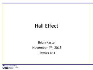 Hall Effect. Brian Kaster November 4 th, 2013 Physics 481