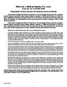 Hall, et al. v. Bank of America, N.A., et al., Case No. 12-cv FAM