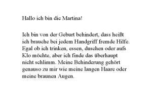 Hallo ich bin die Martina!