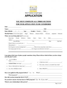 HALO Transition Living Program APPLICATION YOU MUST COMPLETE ALL THREE SECTIONS FOR YOUR APPLICATION TO BE CONSIDERED