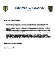 HAMSTEAD HALL ACADEMY E-safety Policy