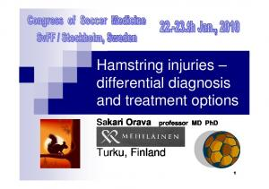 Hamstring injuries differential diagnosis and treatment options