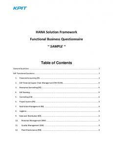 HANA Solution Framework Functional Business Questionnaire ~ SAMPLE ~ Table of Contents