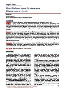 Hand Deformities in Patients with Rheumatoid Arthritis