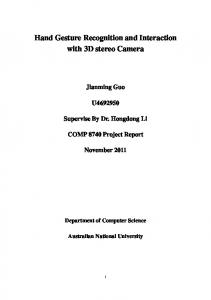 Hand Gesture Recognition and Interaction with 3D stereo Camera