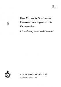 Hand Monitor for Simultaneous Measurements of Alpha and Beta Contamination