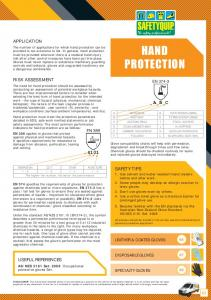 HAND PROTECTION APPLICATION RISK ASSESSMENT SAFETY TIPS USEFUL REFERENCES A B C LEATHER & COATED GLOVES DISPOSABLE GLOVES SPECIALTY GLOVES