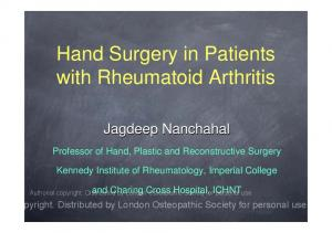 Hand Surgery in Patients with Rheumatoid Arthritis