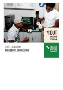HANDBOOK FOR FACULTY of ENGINEERING AND THE BUIILT ENVIRONMENT. DEPARTMENT of INDUSTRIAL ENGINEERING. Programmes:
