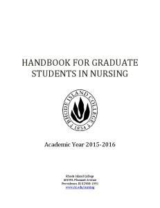 HANDBOOK FOR GRADUATE STUDENTS IN NURSING