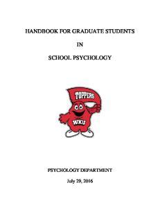 HANDBOOK FOR GRADUATE STUDENTS SCHOOL PSYCHOLOGY