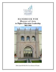 HANDBOOK FOR Master of Arts in Higher Education Leadership