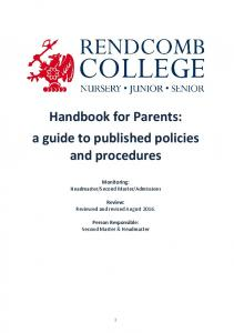 Handbook for Parents: a guide to published policies and procedures