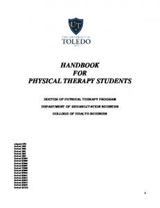 HANDBOOK FOR PHYSICAL THERAPY STUDENTS