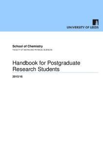 Handbook for Postgraduate Research Students