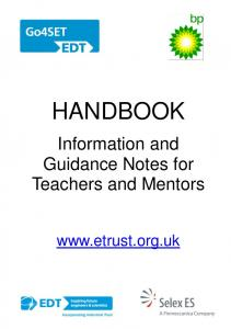 HANDBOOK. Information and Guidance Notes for Teachers and Mentors