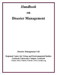 Handbook on Disaster Management