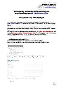 Handhabung des Marktplatz-Kleinanzeigers unter der Website  Bereitstellen von Kleinanzeigen