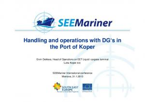 Handling and operations with DG s in the Port of Koper