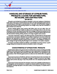 HANDLING AND STORAGE OF GYPSUM PANEL PRODUCTS: A GUIDE FOR DISTRIBUTORS, RETAILERS, AND CONTRACTORS (GA )
