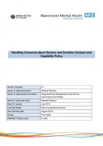 Handling Concerns about Doctors and Dentists Conduct and Capability Policy