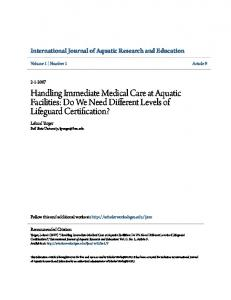 Handling Immediate Medical Care at Aquatic Facilities: Do We Need Different Levels of Lifeguard Certification?