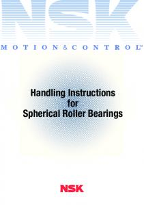 Handling Instructions for Spherical Roller Bearings