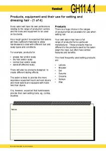 Handout. Products, equipment and their use for setting and dressing hair - (1 of 4)