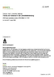 Hanisch, Rolf; Lichtenfeld, Mathias Trends und Tendenzen in der Lehrkräftefortbildung