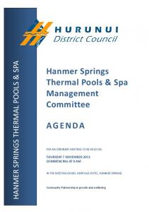 Hanmer Springs Thermal Pools & Spa Management Committee