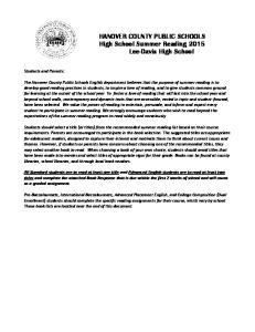 HANOVER COUNTY PUBLIC SCHOOLS High School Summer Reading 2015 Lee-Davis High School