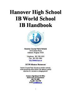 Hanover High School IB World School IB Handbook