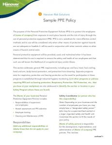 Hanover Risk Solutions. Sample PPE Policy