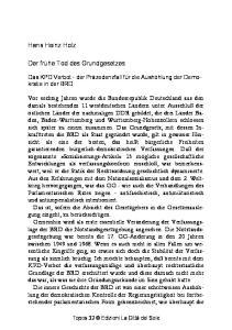Hans Heinz Holz. Der frühe Tod des Grundgesetzes