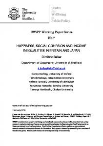 HAPPINESS, SOCIAL COHESION AND INCOME INEQUALITIES IN BRITAIN AND JAPAN